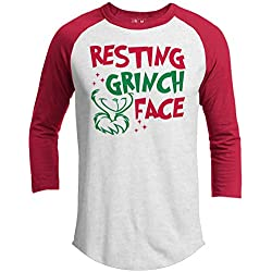 21 THREADS Christmas Raglan Resting Grinch FACE Holiday 3/4 Sleeve T-Shirt
