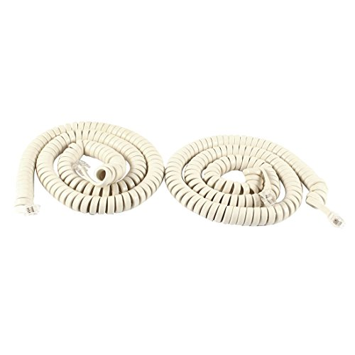 uxcell 2 Pcs RJ9 4P4C Coiled Stretchy Telephone Handset Cable Beige 5M