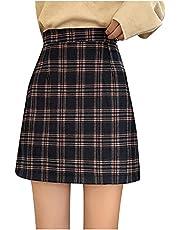 HGps8w Women's Plaid Mini Skirt Cute High Waist Elastic Above Knee Grid A-Line Bodycon Short Skirt