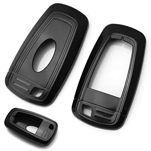 iJDMTOY Glossy Metallic Black Exact Fit Key Fob Shell Cover For 2017-up Ford Edge Fusion and 2018-up Ford Mustang F-150 F-250 Explorer Expedition Keyless