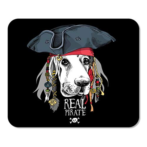 Suike Mousepad Computer Notepad Office Accessory Portrait of Basset Hound Dog in Pirate Hat Bandana Dreadlocks Animal Beads Home School Game Player Computer Worker 9.5x7.9 Inch -