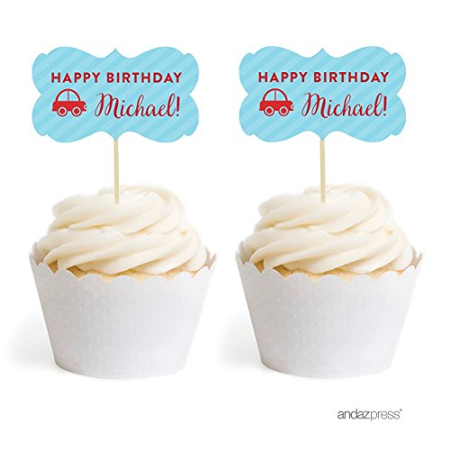 Andaz Press Personalized Birthday Cupcake Toppers DIY Party Favors Kit, Car, Double-Sided, 18-Pack, Custom - Custom Cupcake