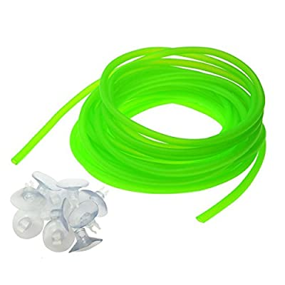 Saim 25Ft Flexible Airline Tubing for Aquariums, Terrariums and Hydroponics, 10Pcs Airline Tubing Suction Cups Included