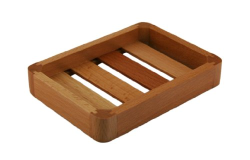 Beech Wood Flat Rectangle Wood Soap Dish Tray L 5¼ - W 4 - H ¾