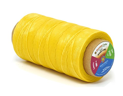 (Mandala Crafts 150D 210D 0.8mm 1mm Leather Sewing Stitching Flat Waxed Thread String Cord (210D 1mm 180M, Yellow))