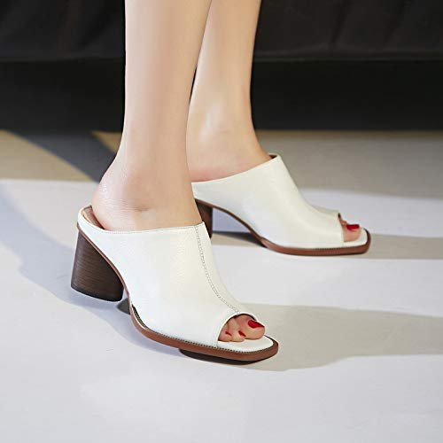 Shoes Rough Genuine Wear And Heels Slippers Cool Square White Four Thirty Retro Summer Fashionable High 8Cm Muller KPHY Leather qIwf04W