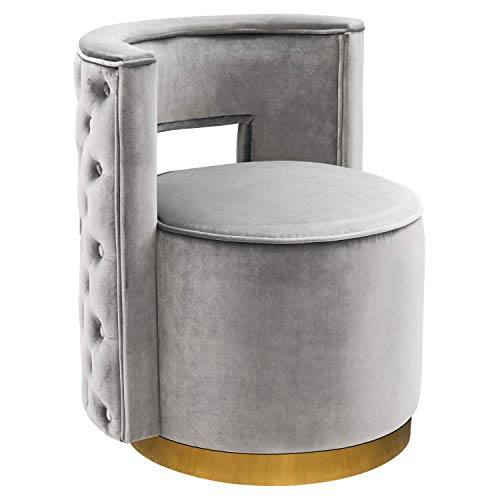 Swivel Accent Chair, Modern Upholstered Barrel Chair Vanity Stool for Bedroom Living Room with Gold Base Silvery Grey (Tufted Vanity Stool)