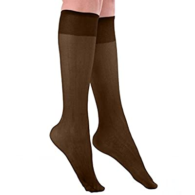 Women's Plus Size Queen Sheer Support Knee High Stockings 3-Pack at Women's Clothing store