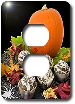 3dRose lsp/_6023/_6 Pumpkin and Cupcakes 2 Plug Outlet Cover Multicolor