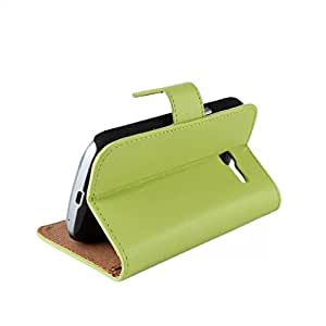 Cowskin Flip Leather Wallet Card Pouch Stand Back Case Cover For Samsung Galaxy Trend Lite (s7390) / Galaxy Fresh (s7390 / s7392) Green