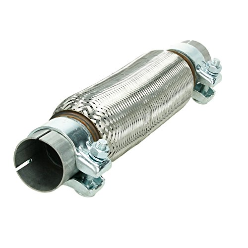 ECD Germany Universal flexible tube - 50 x 250 mm - with 2 clamps - made of stainless steel - interlock - assembly without welding - flex piece corrugated tube Exhaust pipe exhaust system: