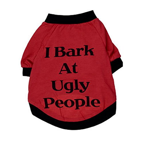 [Mikey Store Pets Dog Clothes I Bark At Ugly People Printing Dog Clothes Shirt for Puppies Dogs (Red,] (Cave People Costume)