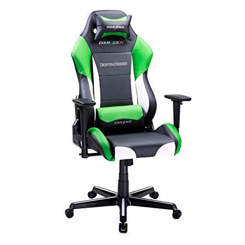 DXRacer USA Drifting Series OH/DM61/NWE Gaming Chair Computer Chair Office Chair Ergonomic Design Swivel Tilt Recline Adjustable with Tilt Lock, Includes Headrest Pillow and Lumbar Cushion (Green) DXRacer USA