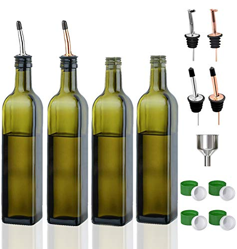 Olive Oil Dispenser Bottle-4 Pack of 17 oz Glass Olive Oil Bottles with Easy Pour Spout Set - Oil and Vinegar Cruet Set with Food Grade Funnel Drip Free Olive Oil Carafe Decanter for Kitchen