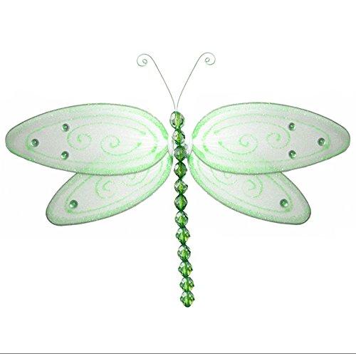 Hanging Dragonfly Green Large Glitterメッシュナイロントンボデコレーション装飾赤ちゃん保育園寝室 13GGLD、女の子ルーム天井壁装飾、ウェディング、誕生日パーティー、ベビーシャワー Dragonfly、ホーム、Kid子3dアートDIY Large 13