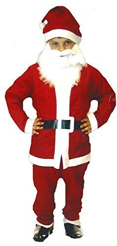 Small Santa Father Christmas - Child's Dressing Up Outfit (Ages 4-6 years) by Henbrandt (White Felt Beard)