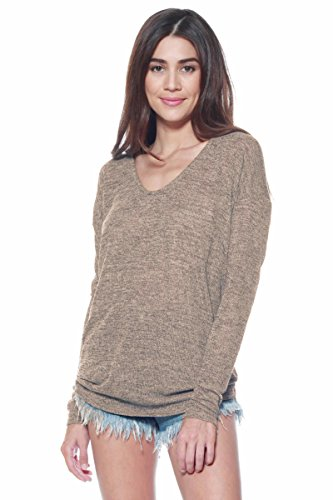 Alexander + David Women's Long Sleeve Dolman Knit Batwing Long Sleeve Blouse. Lightweight, Thin, Loose Pullover Top (Mocha, Large)