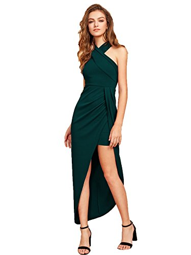 (MAKEMECHIC Women's Sleeveless Split Ruched Halter Party Cocktail Long Dress Green L)