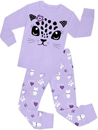 shelry Little Girls Cat Pajamas Set Children Cotton Clothes Christmas Gift PJS Size 6 (Cotton Kids Pajamas)