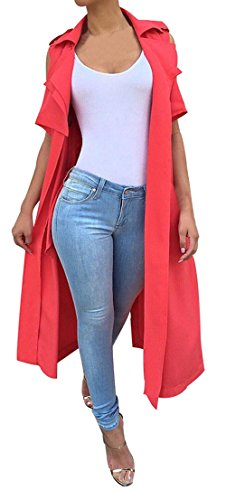 Lovaru+Women%27s+Sleeveless+Turn+Down+Collar+Long+Trench+Coat+Top+Vest%2C+Large%2C++Red