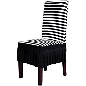 This Item Dining Room Chair Covers SHZONSTM Stretch Stripe Ruffled Long Skirt Slipcover Black WhiteStyle A