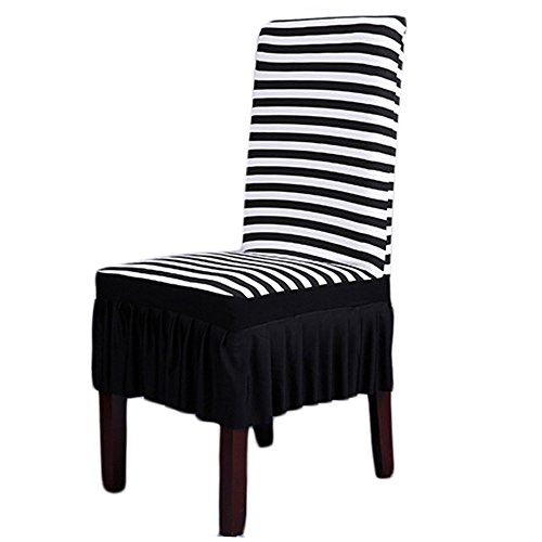 Dining Room Chair Covers, SHZONSTM Stretch Stripe Ruffled Long Skirt Dining Chair Slipcover, Black/White(Style A)