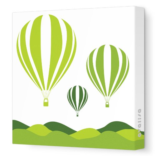 Avalisa Stretched Canvas Nursery Wall Art, Hot Air Balloon, Green
