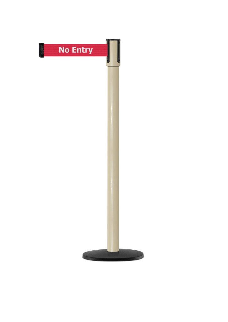 Tensabarrier - 890B-33-100-100-STD-NO-RBX-C - beige post, 2'' wide, 7'6'' length red No Entry belt
