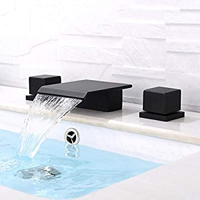 BULUXE Waterfall Bathroom Sink Faucet in Matte Black, 3 Hole Double Square Handles Widespread Black Bathroom Faucet Solid Brass