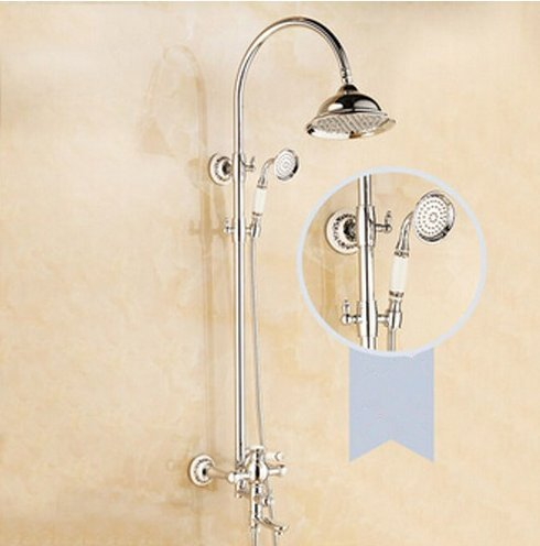 GOWE Luxury Chorme Finish Shower Set Bathroom 8-in Ceramic Hand Shower Faucet 0