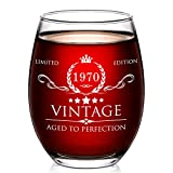 AOZITA 50th Birthday Gifts for Women and Men Wine Glass - 50 Year Old Birthday Gifts, Party Favors, Decorations for Him or Her - Vintage Funny Anniversary Gift Ideas for Mom, Dad, Husband, Wife - 15oz