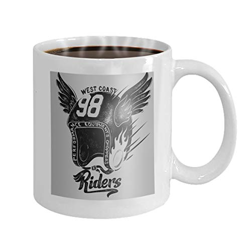 (11 oz Coffee Mug motorcycle rider helmet print design motorcycle rider helmet print design Novelty Ceramic Gifts Tea Cup)
