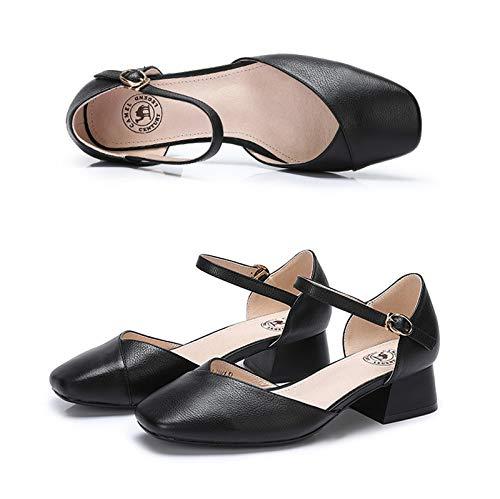 Square De Medio Baja Boca Tacón Retro Zapatos Head Zapatos De Tan Tacón Negro Color Zapatos Sólido Solo Sólido Hembra Otoño Grueso Luz Negro Primavera De Y Mujer xxT1HY