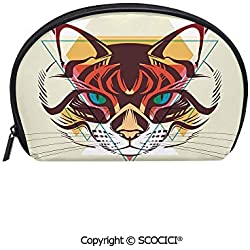 SCOCICI Printed Small Size Storage Makeup Bag Cat Portrait with Funk Color Effects Cute Kitty Whiskers Pet Feline Zoo Meow Graphic Decorative for Women Girl Ladies