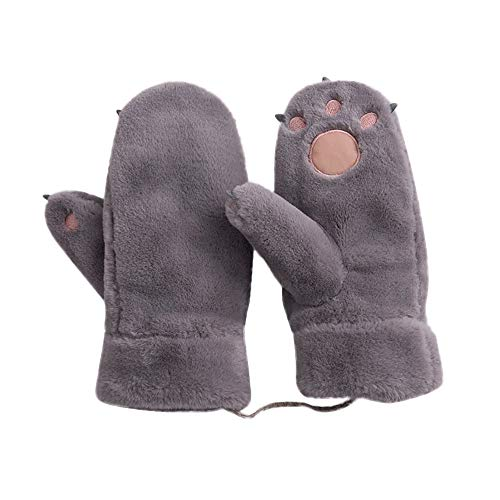 MaxFox Winter Women Knitted Halter Knuckle and Velvet Mittens Girls Plush Thick Keep Warm Cute Claw Gloves (Gray)