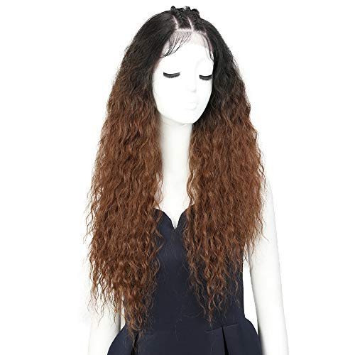 NOBLE Lace Front Wigs Synthetic Wigs Water Wve Free Parting Wide Space Lace Replacement Wigs(30inches, TT1B/30)