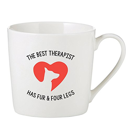 Best Therapist Has Fur Four Legs Dog Heart 14 Ounce Bone China Cafe Coffee ()