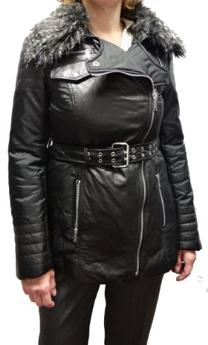 Michael Kors Leather and Nylon Jacket with Zip out Faux Fur Collar-Black-XL