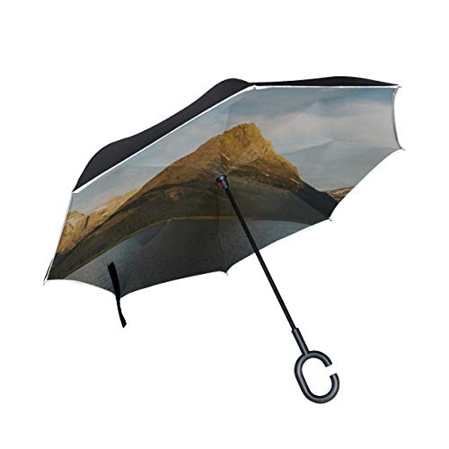 RH Studio Inverted Umbrella Mountains Lake Current Large Double Layer Outdoor Rain Sun Car Reversible Umbrella by RH Studio