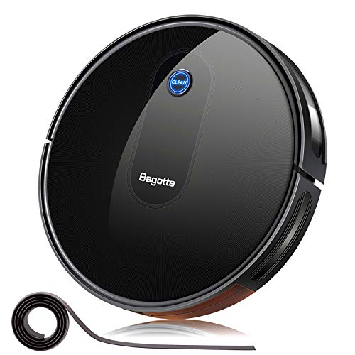 Robot Vacuum, Bagotte 1600Pa Robotic Vacuum Cleaner, Super-Thin, Quiet, Self-Charging, Smart Vacuum Robot Cleaner for Pet Hairs, Carpets, Hard Floors