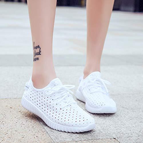 Femmes Chaussures de Maille en Plein Air Casual Lace Up Semelles Confortables Chaussures de Sport Décontractées Respirant Basket Sneakers BaZhaHei Blanc
