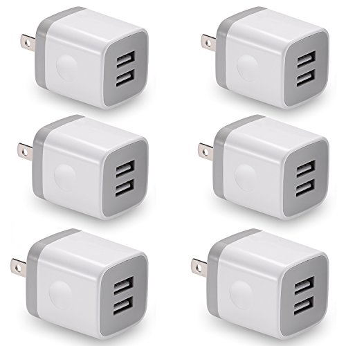 USB Wall Charger, BEST4ONE 6-Pack 2.1A/5V Dual Port USB Plug Power Adapter Charging Block Compatible for iPhone XS/MAX / XR/X / 8/7/6 Plus SE/5S, Samsung, LG, Moto, Android Phone -White