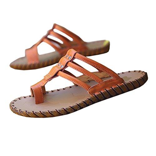 DFB Summer Men Sandals Trend Authentic Casual Cool Slippers Men Sandals Men's Handmade Slippers,ReddishBrown-44