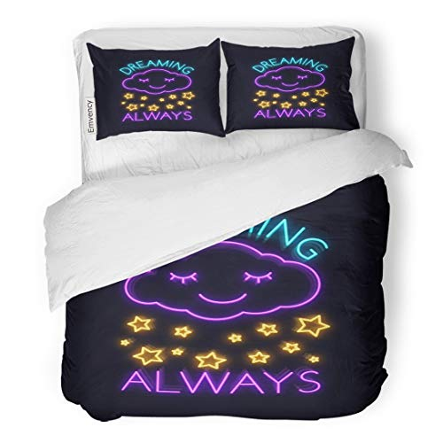 "Emvency Bedding Duvet Cover Set Phrase Dreams Always Slogan for Neon Sign in Graphic Cloud Paint Beautiful 3 Piece King 104""x90"" Quilt Cover with Zipper Closure"