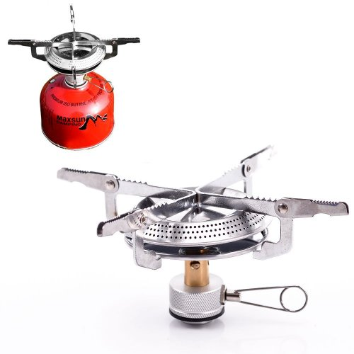 HOUSWEETY Lightweight Large Burner Classic Camping and Backpacking Stove. For Butane and Propane Canisters (style 1)