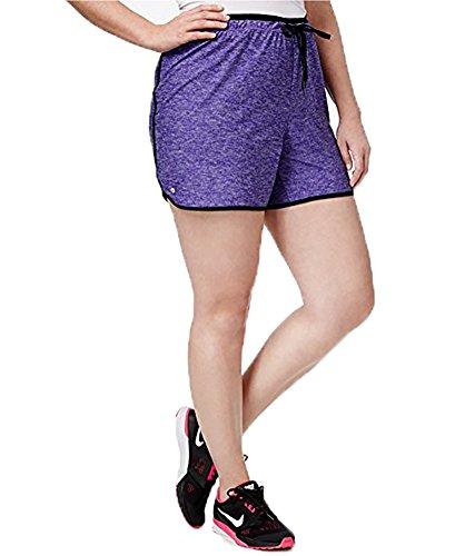 Ideology Plus Size Heathered Performance Shorts (3X, Blazing Purple) by Ideology