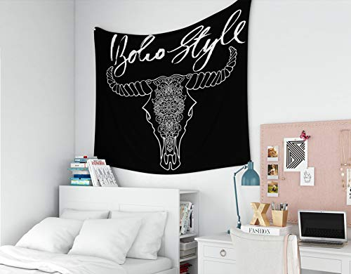 EMMTEEY Tapestry for MOM, Tapestries Décor Living Room Bedroom for Home Inhouse by Printed 80x60 Inches for Tattoo Style Dead Cow Head Decorative Ornament Buffalo Skull Native Indian Art Black