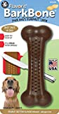 Pet Qwerks Barkbone Flavorit Peanut Butter Flavor Bone - Fillable Surface for Spreads, Tough Durable Toys for Aggressive Power Chewers | Made in USA, FDA Compliant Nylon - for Large & Medium Dogs