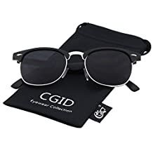 CGID Clubmaster Inspired Half Frame Horn Rimmed Polarized Sunglasses with Metal Rivets(Matte Black-Gray)