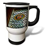 3dRose Jos Fauxtographee- Stewart Glass in Scotland - A window in Scotland at a Castle has the Stewart Emblem on it - 14oz Stainless Steel Travel Mug (tm_293927_1)